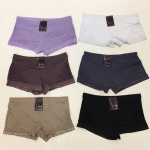 NWT Set Of 6 Panty Boy Short Lace Side S-XL